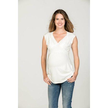 Love2Wait weißes, festliches Umstandsshirt mit Stillfunktion mit Spitze Tencel® von Love2Wait