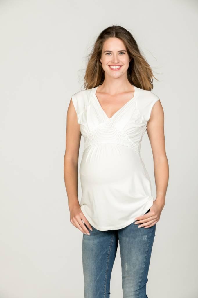 Love2Wait weißes, festliches Umstandsshirt mit Stillfunktion mit Spitze BIO Tencel® von Love2Wait