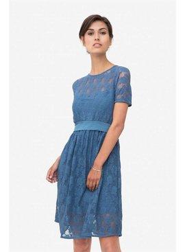 Milker Nursing Stillkleid Umstandskleid Spitze blau