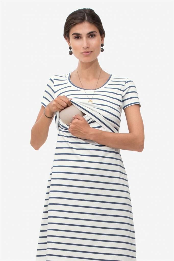 blau gestreiftes Stillkleid Umstandskleid aus Bio Baumwolle von Milker Nursing