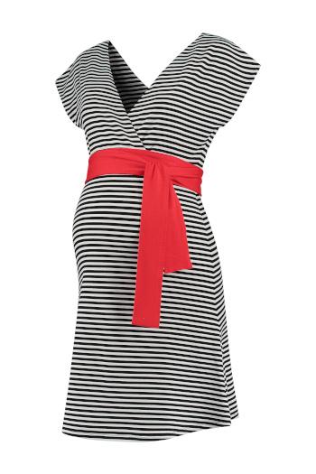 Umstandskleid Stillkleid gestreift rote Schärpe