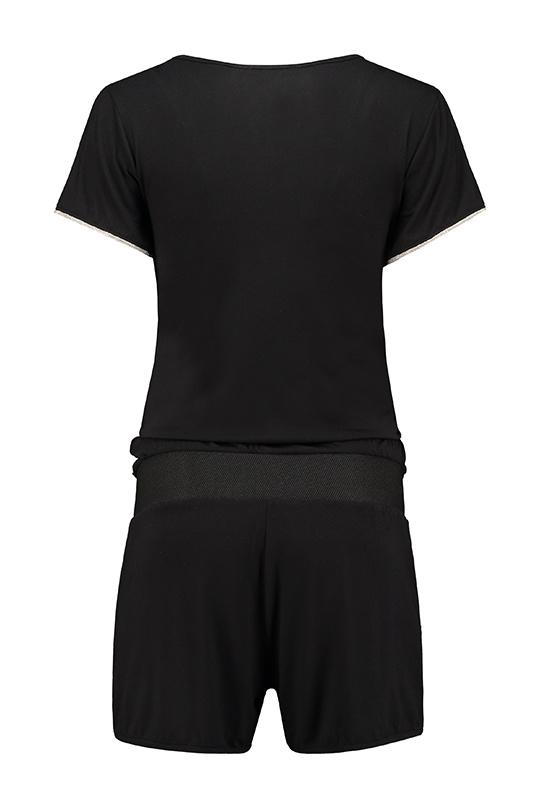 kurzer Jumpsuit Umstandsoverall in schwarz mit silber von Love2Wait