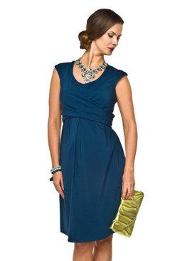 blaues Umstandskleid mit Stillfunktion