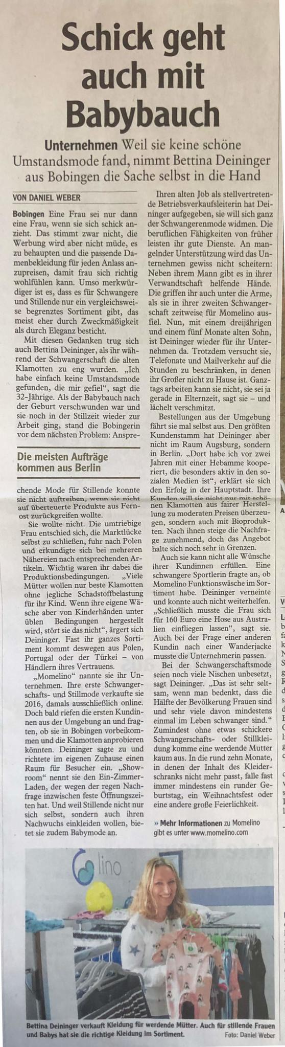 Artikel momelino Schwabmünchner Allgemeine