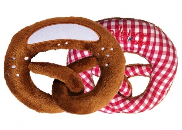 Nyani Babyrassel in Form einer Breze in rotkariert und Plüsch
