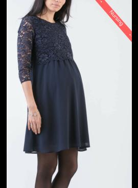 Attesa Umstandskleid Stillkleid Spitze blau
