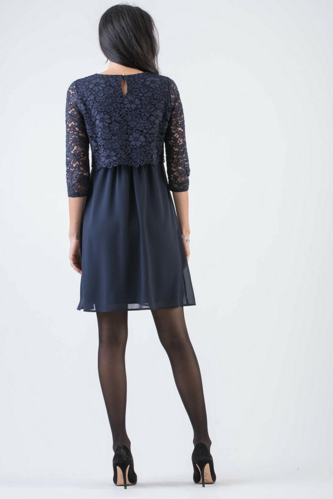 Attesa hochwertiges blaues Umstandskleid mit Stillfunktion mit Spitze von Attesa