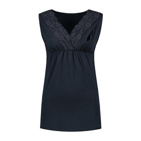 Love2Wait dunkelblaues, festliches Umstandsshirt mit Stillfunktion mit feiner Spitze Tencel® von Love2Wait