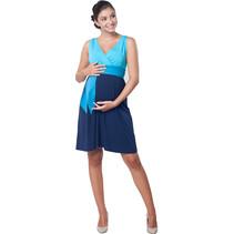Umstandskleid Stillkleid 3farbig blau