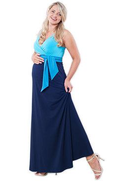 Victoria Grace Maxi Umstandskleid Stillkleid 3farbig blau