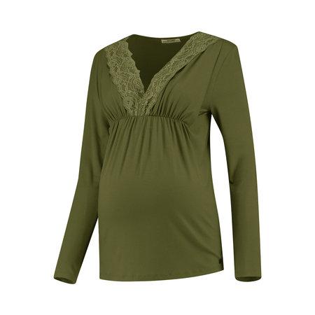 Love2Wait olivfarbenes, festliches Umstandsshirt mit Stillfunktion mit feiner Spitze Tencel® von Love2Wait