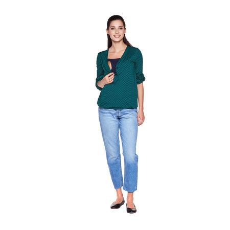 Torelle grünes Umstandsshirt Stillshirt mit dunkelblauen Quadraten von Torelle