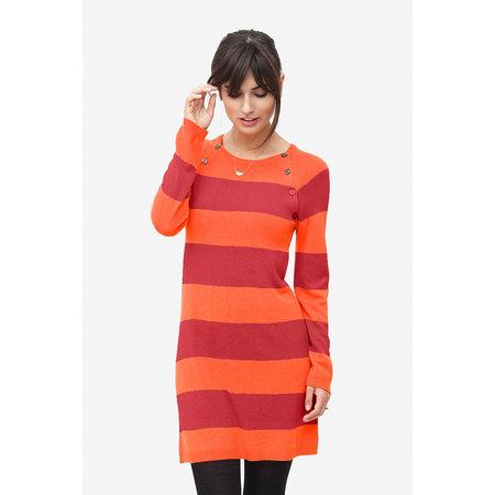 Milker Nursing orange rot gestreiftes Umstandskleid mit Stillfunktion aus Wolle von Milker Nursing