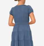Milker Nursing blaues Stillkleid Umstandskleid mit Volants aus nachhaltiger Bambusfaser von Milker Nursing