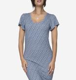 Milker Nursing blaue gemustertes Stillkleid Umstandskleid mit Schmetterlingsärmel aus nachhaltiger Bambusfaser von Milker Nursing