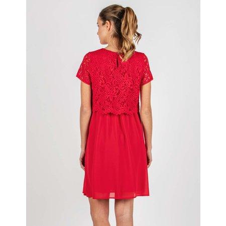 Attesa hochwertiges, kurzämliges, festliches Umstandskleid mit Stillfunktion in rot mit Spitze von Attesa