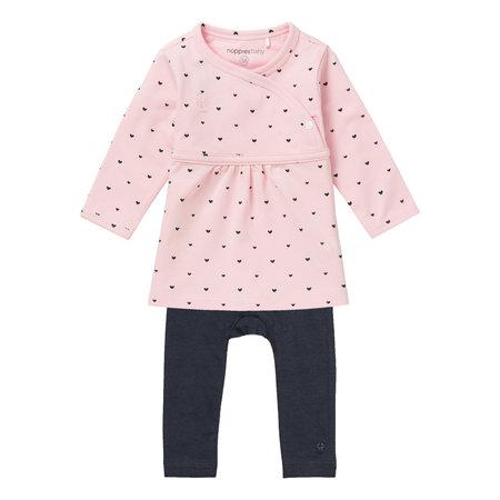 noppies Babykleidchen mit Herzchen und Leggings in rosa GOTS Bio Baumwolle von Noppies