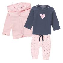 3er Set Babyhose, Shirt & Cardigan Herzchen