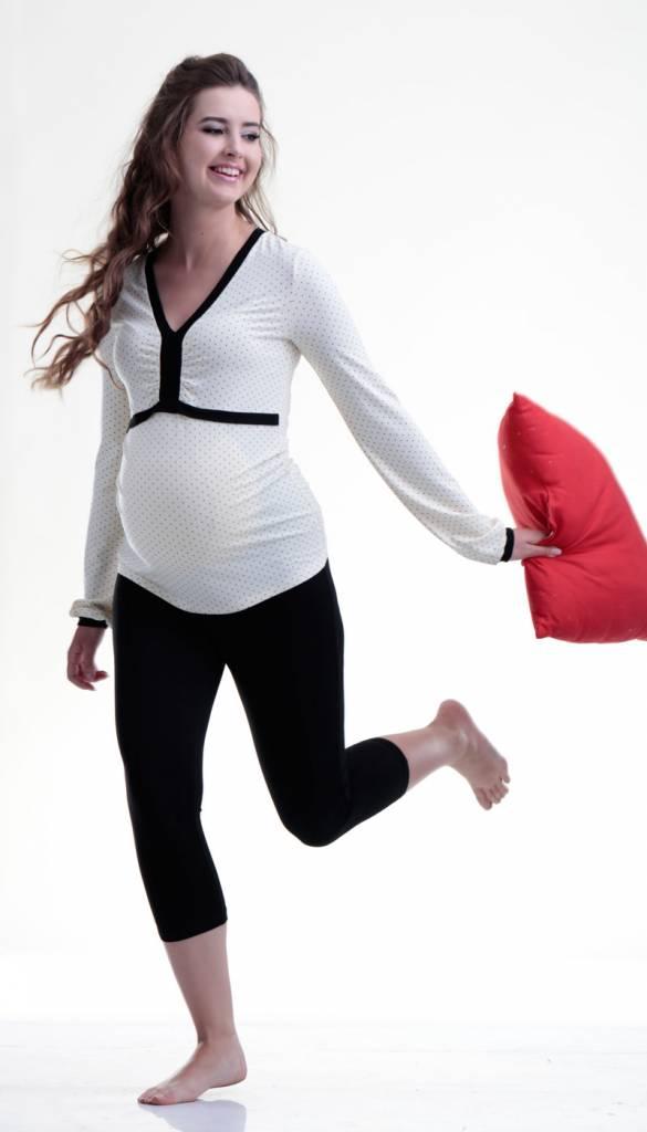 mamaija  Umstandspyjama aus Leggings und gepunktetem Oberteil von mamaija