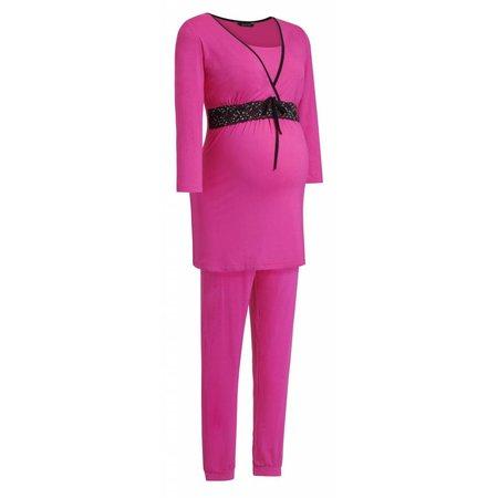 9fashion pinker Umstandspyjama mit Spitze von 9fashion