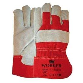 Rundsplitlederen handschoen met rode kap