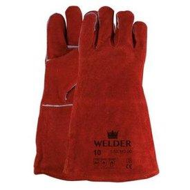 Lashandschoen van rood splitleder mt 10