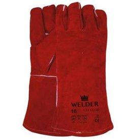 Lashandschoen van rood splitleder met Kevlar garen gestikt mt 10