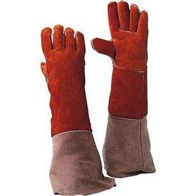 Lashandschoen van rood splitleder met lange kap mt 10