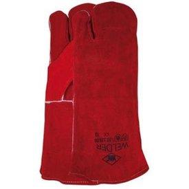 Lashandschoen van rood splitleder, 3-vinger model mt 10