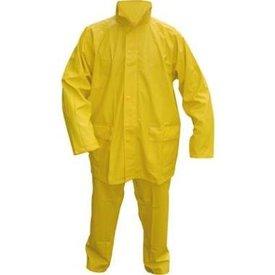 regenpak pu strech sac 2 delig kleuren groen/ geel / marineblauw