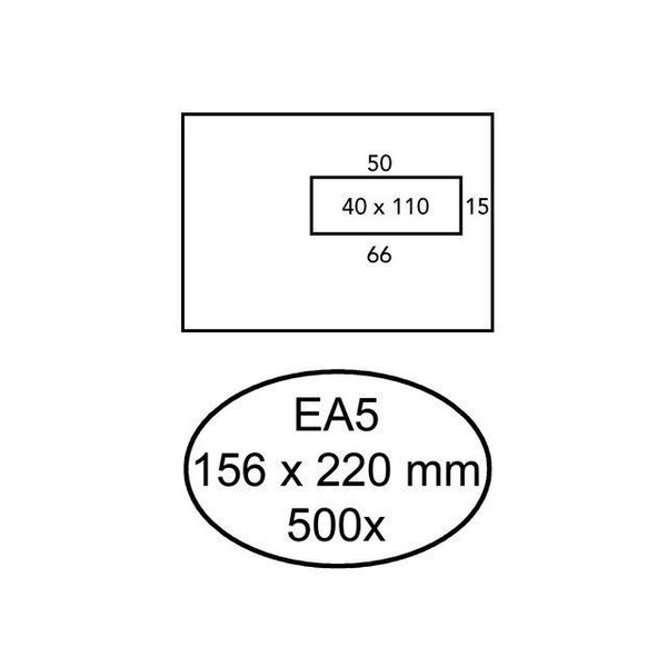 Enveloppe 156x220mm 80gr venster rechts zelfklevend 500st