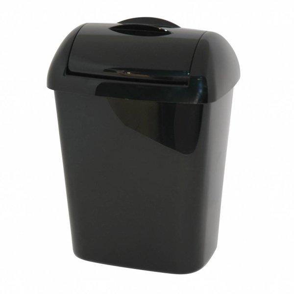 afvalbakje kunststof zwart 8L met muurbevestiging