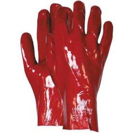 werkhandschoen pvc rood lang 27cm