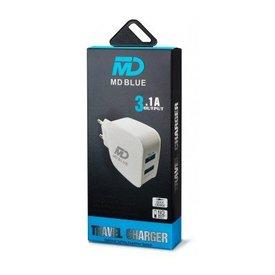 MD BLUE Huisstekker Duo 2 USB 3,1A