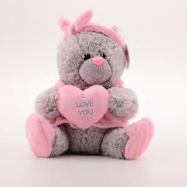 beer paars/roze hart en strik op hoofd 26cm