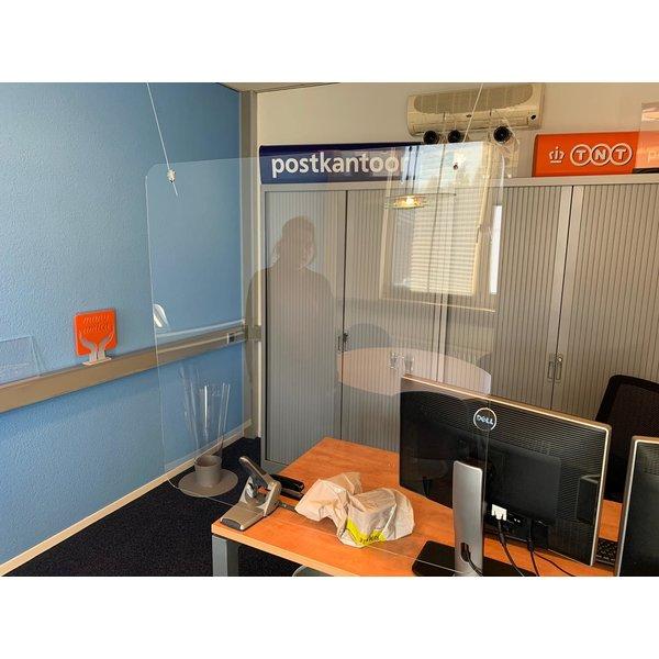 acrylscherm hangend 100 x 100cm met 2 bevestigingsgaten