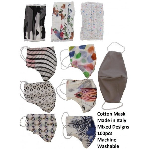 Katoenen mondmasker 100 stuks diverse prints