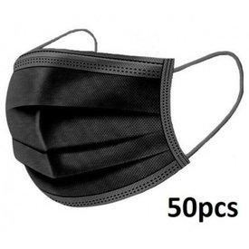 maskers 50 stuks 3 laags met neusclip kleur zwart