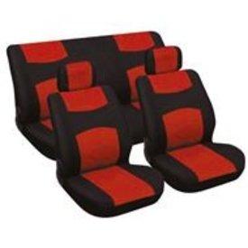 stoelhoesset 6-delig rood/zwart