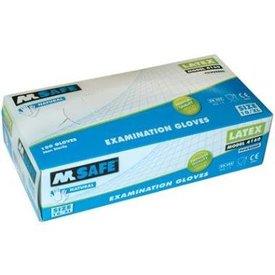 wegwerphandschoen m-safe latex mt 7 t/m 10, 100 stuks kleur naturel