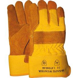 splitgele winterhandschoen met gele kap foam gevoerd