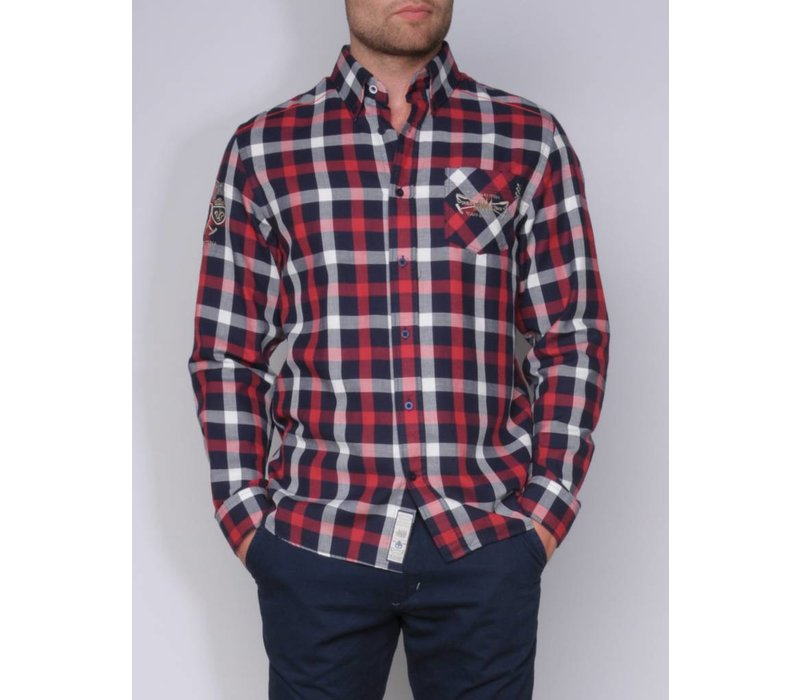 shirt ALEJO III midnight navy-deep red