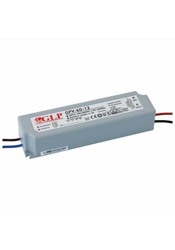 LED 12V strømforsyning  -  60W Max. - 5A - velegnet til 12V LED belysning - IP67 vandtæt