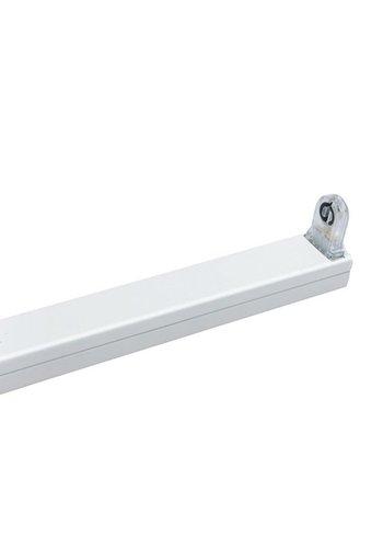 T8 / G13 - LED-armatur IP20 - 60cm til LED lysrør - enkelt - Hvid aluminium
