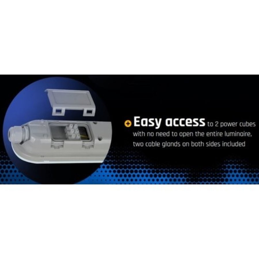 LED-armatur Komplett IP65 - 150cm - 155Lumen / Watt - 8000LM - 50W -  4000K - 840 - Naturlig Hvid - inkl. tilslutningsmateriale - 230v