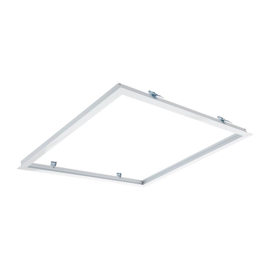 Loftsmonteringsramme - til Troldtekt og Gipsloft - hulstørrelse 613x613mm - hvid - til LED-panel 60x60cm - afdækning størrelse 635x635mm - inkl. fjederholdere