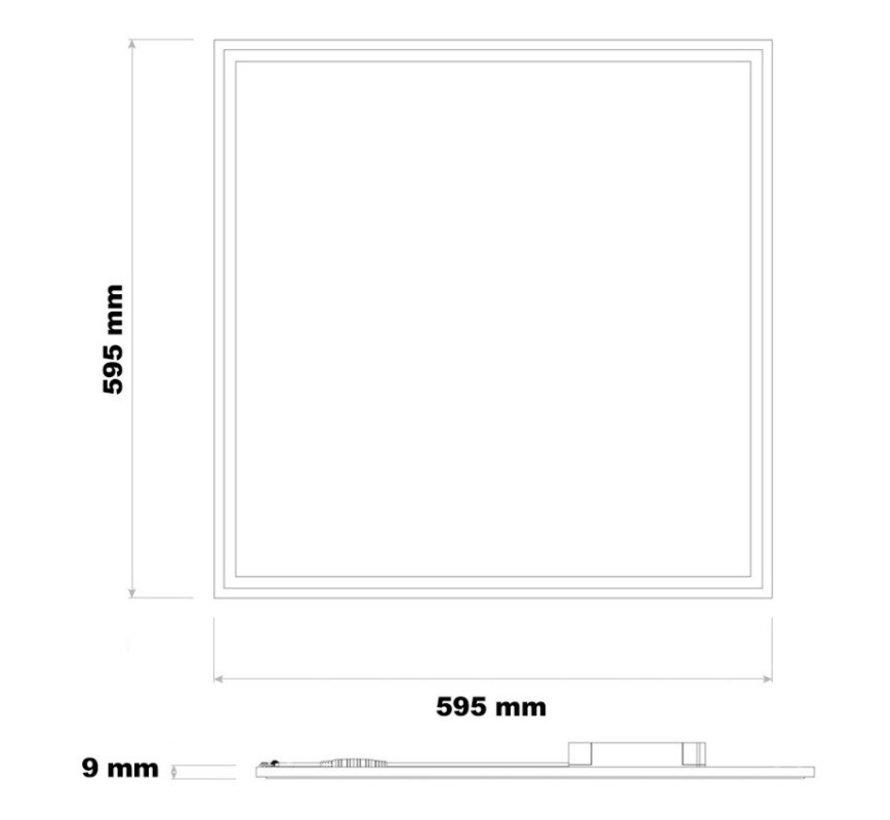 LED Panel 60x60cm - Naturlig hvid 4000K 840 - 40W 3600lm - Hvid kant - Inklusiv driver