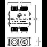 Vandtæt samleboks til videresløjfning IP68 - 4 indgange