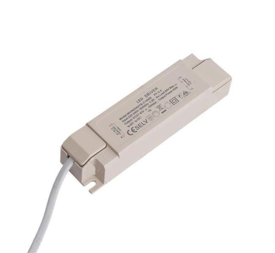 LED driver - Flimmerfri - DC27 - 40V 1000mA - til 40W LED paneler - Ikke dæmpbar
