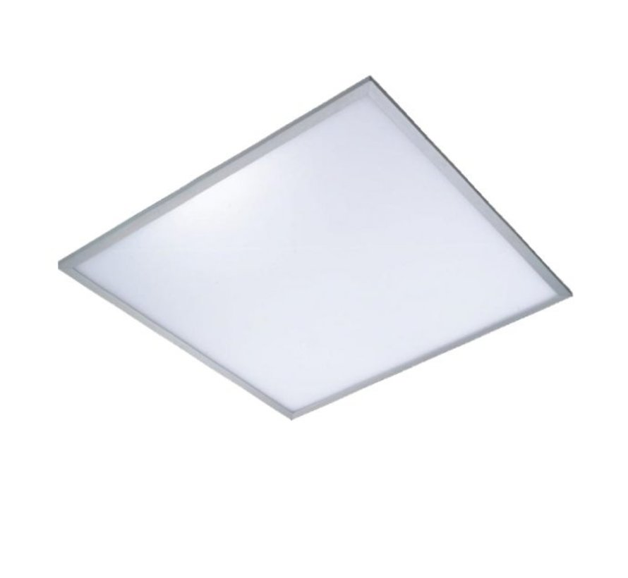 LED panel 60x60cm – Aluminium sølvkant – Kold hvid 6000K – 40W 3600lm – Inklusiv flimmerfri driver